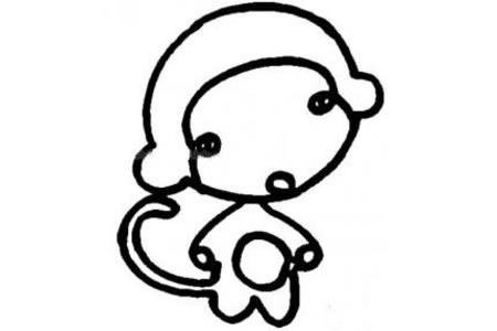 超可爱简单小猴子画法