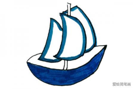清新海洋风格帆船简笔画