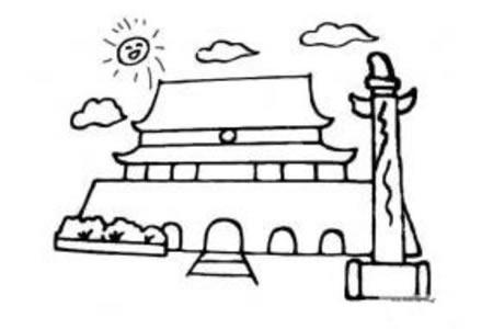 中国著名建筑 天安门简笔画图片