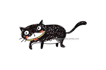 黑猫白猫简笔画图片