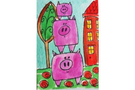 小猪叠罗汉国外创意动物画作品