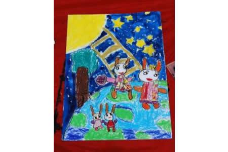 中秋节儿童画作品-兔子给月亮送月饼