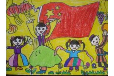 祖国妈妈生日快乐图画,国庆节儿童画作品欣赏