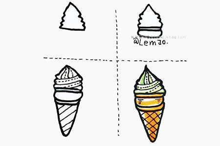 冰淇淋和冰棒的简笔画画法