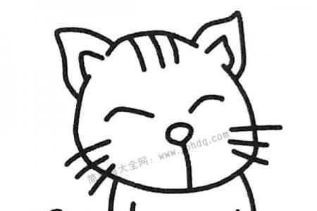 开心的小猫简笔画图片