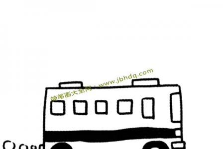 公路上的公共汽车简笔画图片