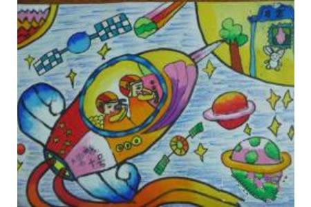 我请月亮吃月饼绘画,中秋节儿童画