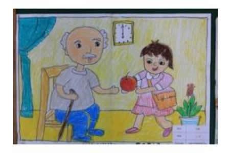 雷锋叔叔儿童画-我向雷锋叔叔学习