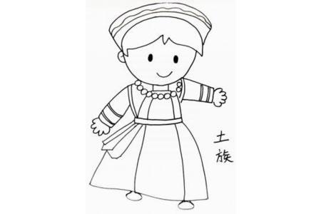 少数民族土族小女孩简笔画