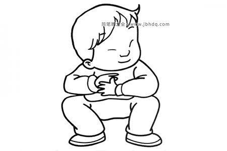 蹲着的小男孩简笔画图片