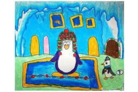 小企鹅的家南极动物画画图片分享