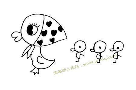 鸭妈妈和小鸭子简笔画图片