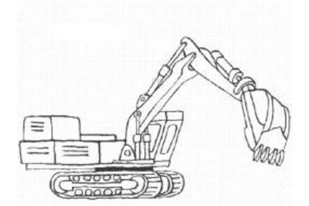 挖掘机简笔画图片
