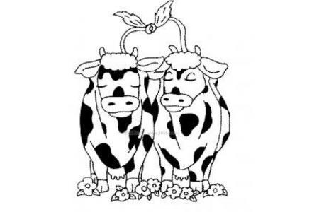 相亲相爱的奶牛简笔画