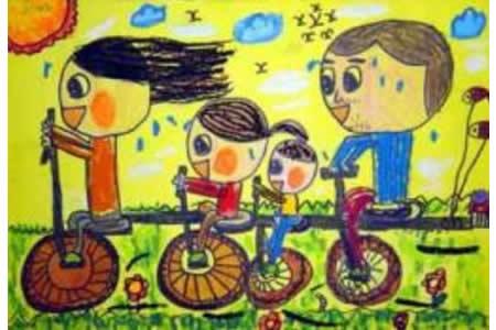 儿童画一起去春游