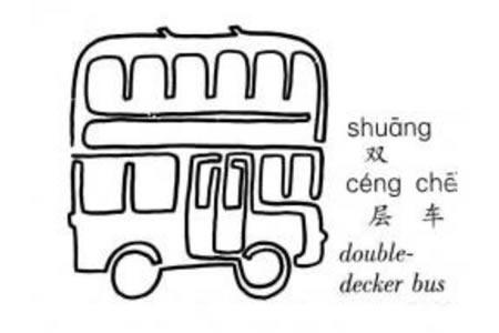 一笔画双层巴士的画法