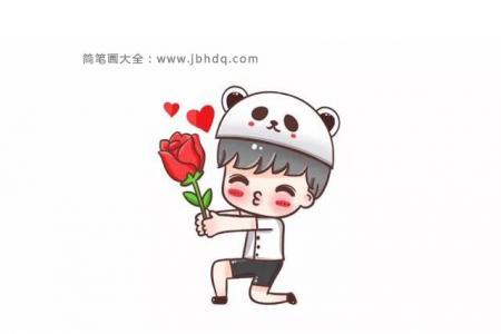 简笔画教程:送玫瑰花的男孩