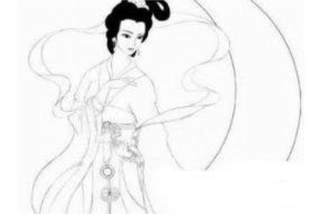 中秋节嫦娥奔月简笔画