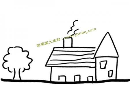 路边的房子简笔画图片