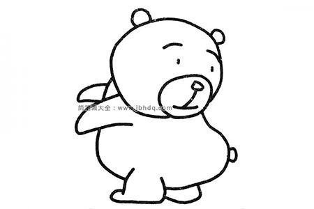一组可爱的狗熊简笔画图片