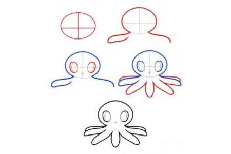 八爪章鱼简笔画教程