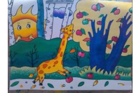 儿童画长颈鹿摘苹果