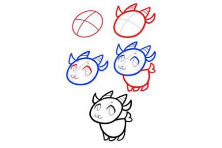动物简笔画大全 小山羊简笔画教程