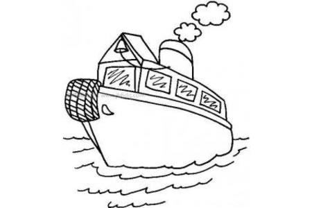 海里行驶的轮船简笔画