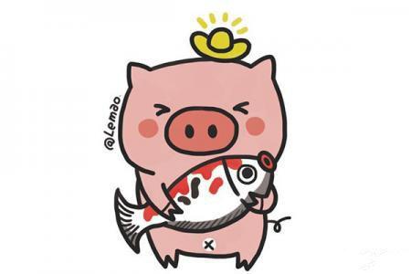 2019福猪锦鲤简笔画图片