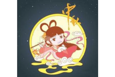 中秋节嫦娥奔月简笔画(卡通版)