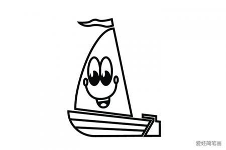 简单可爱的小帆船简笔画