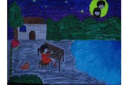 儿童画中秋节图片-和月亮一起吃月饼