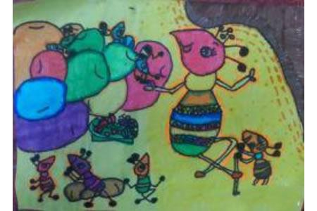 儿童画 勤劳的小蚂蚁