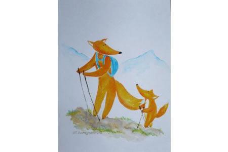 狐狸父子登山记拟人动物场景画教师范画
