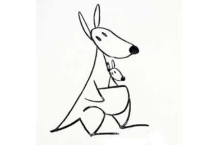 简笔画教程 袋鼠简笔画画法