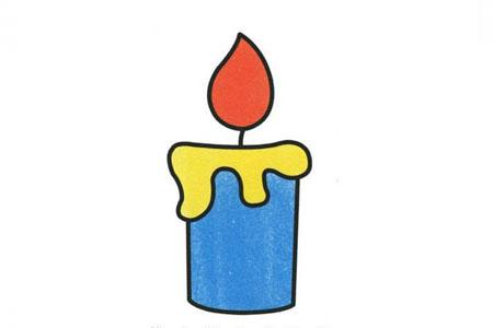 四步画出燃烧的蜡烛
