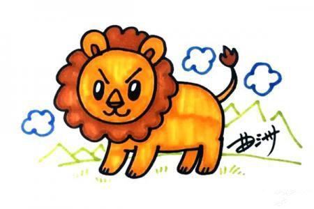 凶狠表情卡通狮子怎么画