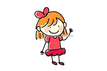 简单易画的彩色小女孩简笔画图片