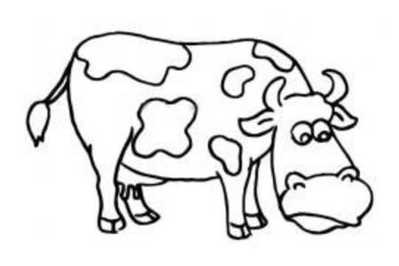吃草的奶牛简笔画