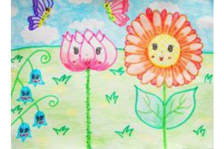 儿童画花儿朵朵开
