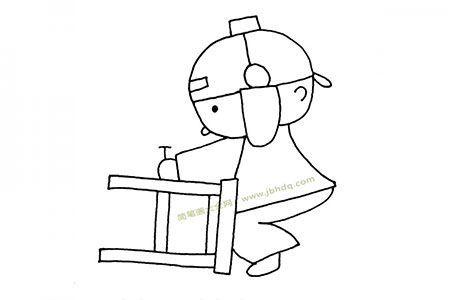 修凳子的小男孩简笔画