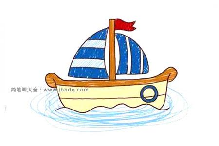 可爱的卡通帆船简笔画图片