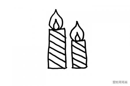 2张圣诞节蜡烛的简笔画图片
