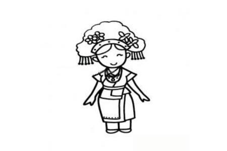 高山族小女孩简笔画