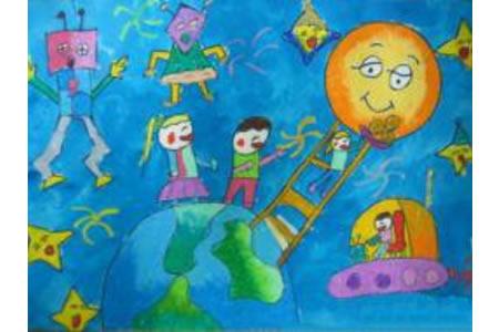 少儿中秋节儿童画-我们给月亮送月饼