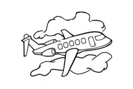 天空中的飞机简笔画