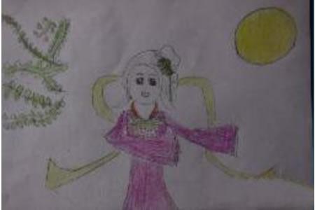 中秋节为主题儿童画-嫦娥仙子