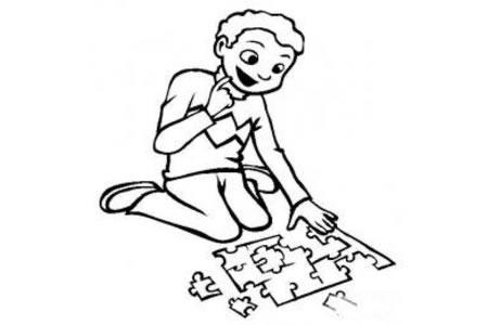 儿童玩具图片 智力拼图玩具简笔画图片