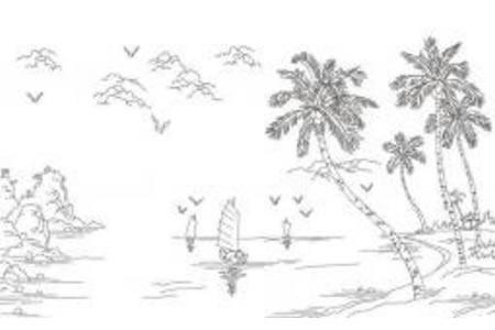 沙滩上的椰子树简笔画图片