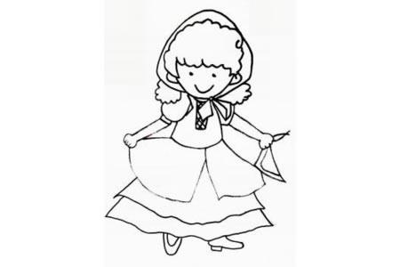 俄罗斯族小女孩简笔画